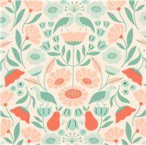 Cremefarbener 'Park Life' grüne pfirsich Blume Cloud 9 organischer Baumwollstoff