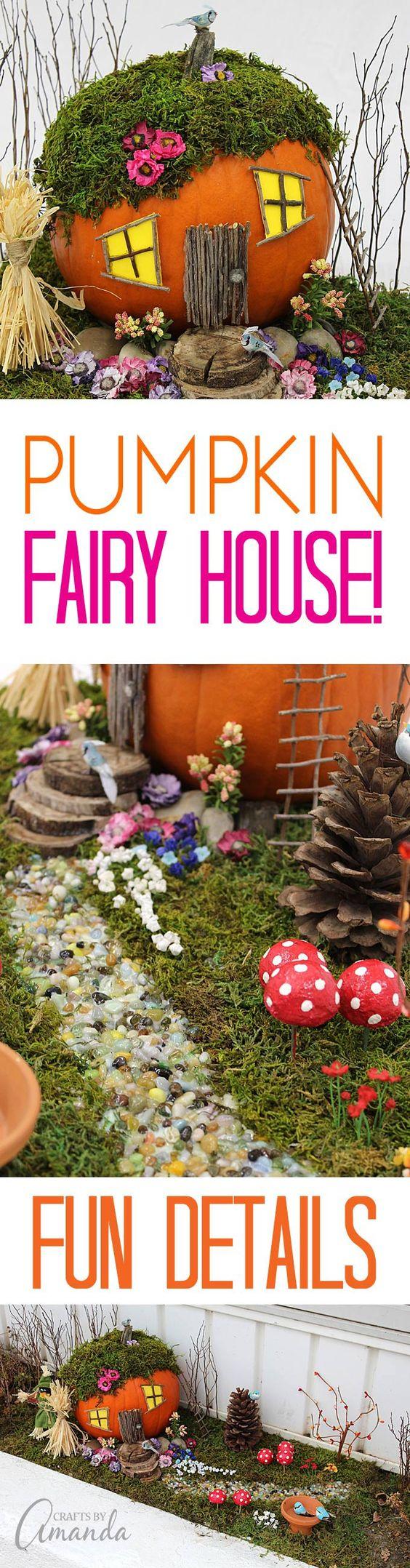 """Jardin miniature féerique avec une maison """"citrouille"""" créé avec des éléments naturels tels que brindilles, bois, mousse sèche et des fleurs en tissu... - explications et visuels"""