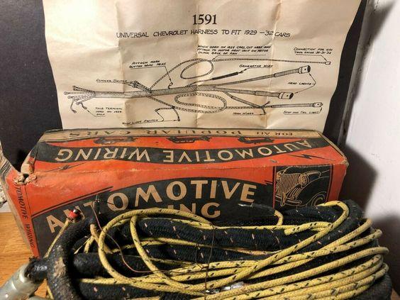 1929 1932 Vintage Chevrolet Wiring Harness In Original Box Cloth Covered Chevrolet Original Box Harness Vintage
