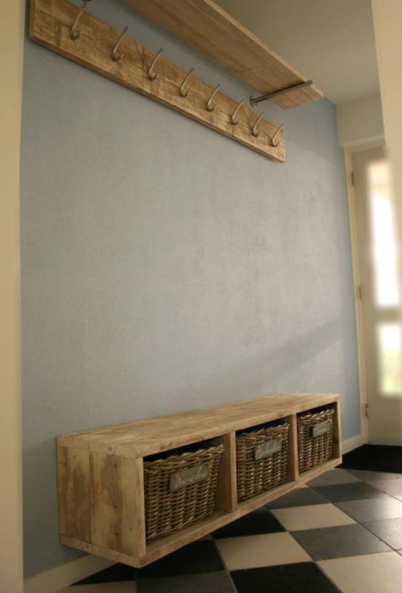 halkastje met kapstok van steigerhout   Home sweet home   Pinterest   Halletjes, Entree en