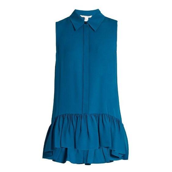 Diane Von Furstenberg Lanzi Top ($173) ❤ liked on Polyvore featuring tops, diane von furstenberg, blue top and diane von furstenberg tops