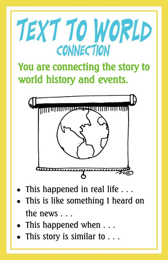 FREE download of Connection posters and examples of Anchor Charts – Making Connections Worksheet