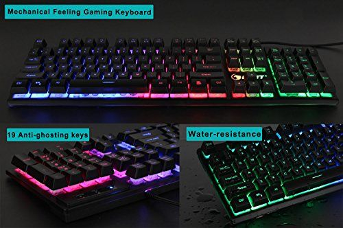 104 Keys N-Key Rollover Anti-Ghosting Computer Keyboard for PC Desktop Gamers E-YOOSO Mechanical Keyboard Wired Gaming Keyboard with Blue Switches LED Backlit Black