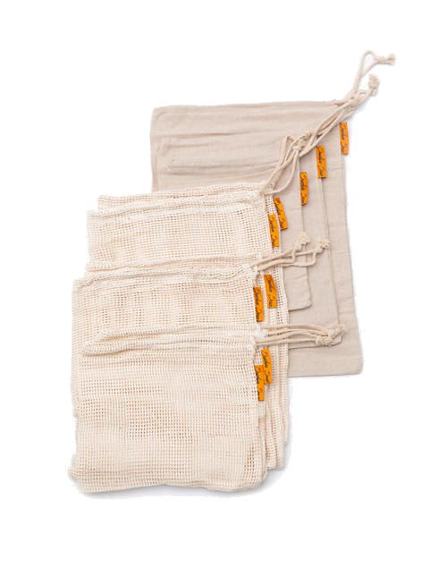 THE SUNSHINE SERIES | Seven-Pack Reusable Organic Cotton & Hemp Produce Bags