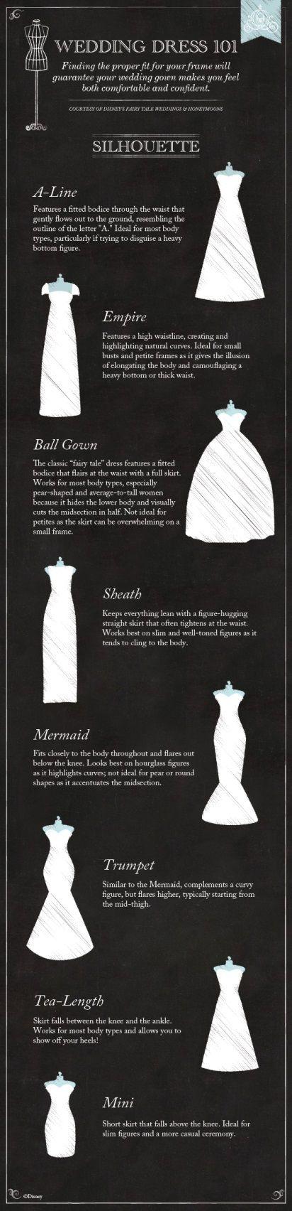 Wedding Dress 101: The Silhouette #Disney #wedding #dress