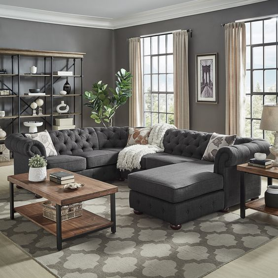 Knightsbridge Tufted Scroll Arm Chesterfield U-Shape Sectional with Chaise by iNSPIRE Q Artisan (Right Facing - Dark Grey Linen)
