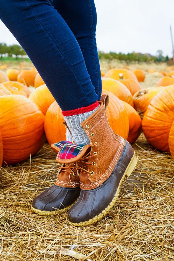 Plaid LL Bean Duck Boots. How to wear style thermal socks pumpkin picking L.L. Bean