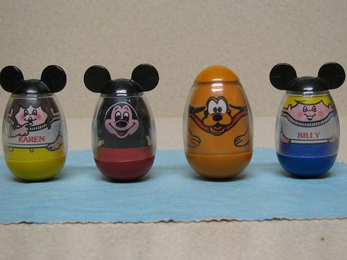 Disney Weebles, I had these when I was little. They came with the Mickey Mouse Club house.