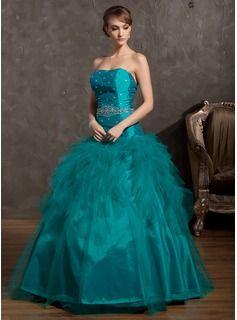 Duchesse-Linie Trägerlos Bodenlang Taft Tüll Quinceañera Kleid (Kleid für die Geburtstagsfeier) mit Perlen verziert Gestufte Rüschen
