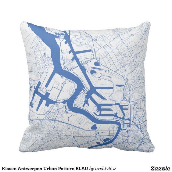 Kissen Antwerpen Urban Pattern BLAU