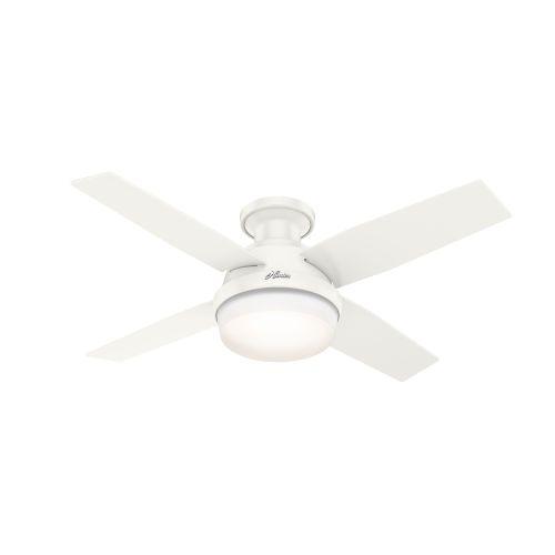 Hunter Fans Dempsey Fresh White 44 Inch Outdoor Two Light Led Ceiling Fan 50399 Bellacor Ceiling Fan Led Ceiling Fan Fan Light 44 inch ceiling fan with light
