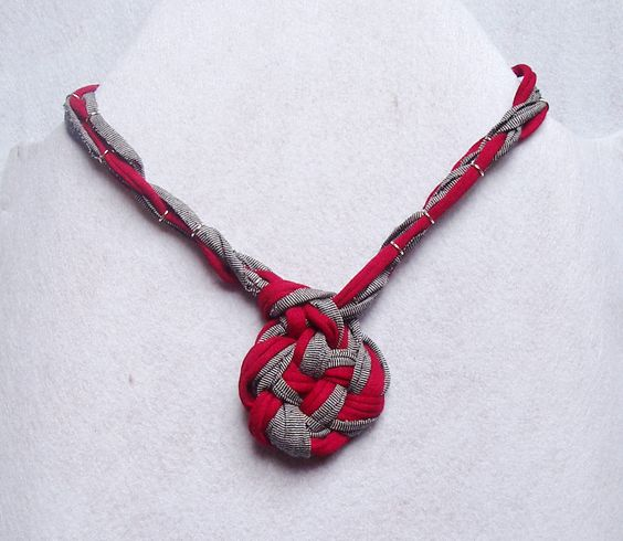 Necklace, fabric necklace, collana di tessuto, fettuccia, textile necklace, necklace with a knot by KatyaThread on Etsy