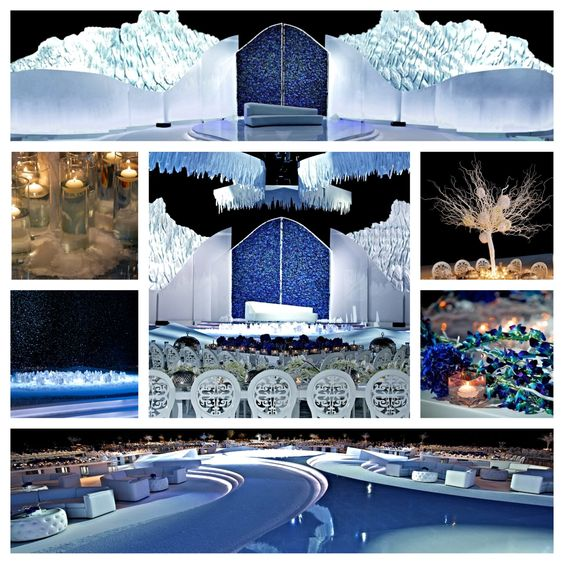 """Ice Kingdom- Dubai. """"Mirror Mirror on the Wall, Who's the fairest of them all"""" In classic fairytales,beauty of ice is flawless & timeless. Being the symbol of feminine power, the Ice Queen demands honor and admiration. The Ice Kingdom wedding celebrates the striking yet luxurious presence of crystal, ice and snow. The venue was transformed into a winter cave with lowered temperatures and icebergs. As the real-life Ice Queen made her entrance, sprinkles of virtual snow floated through the…"""
