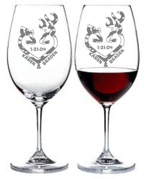 Etched Wine Glass Set Of 2 Deer Doe Hunting Camo