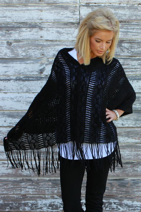 Fly Away Knitted Poncho With Fringe ~ Black ~ Sizes 4-10