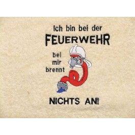 Ein Feuerwehrschlauch in Cartoon-Style und einem frechen Spruch ziert dieses bestickte Handtuch mit Namen. Qualität 450g/m² in verschiedenen Größen und 24 Farben lieferbar