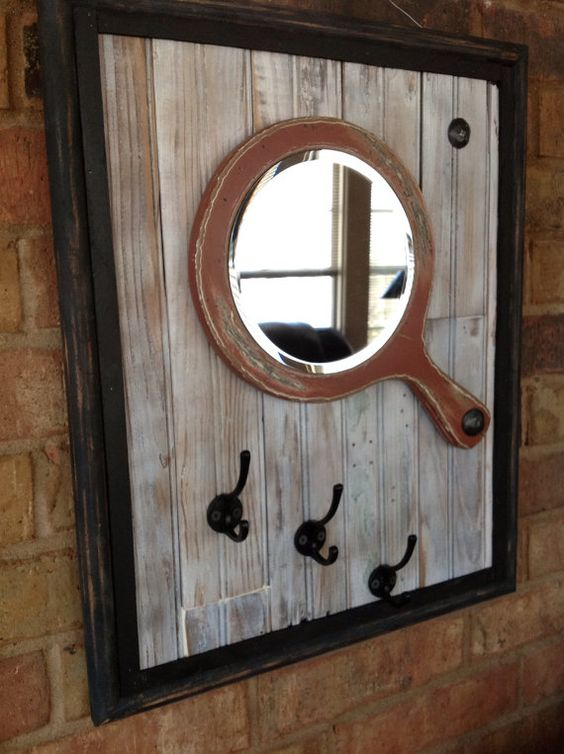 Upcycled Salvaged Wood And Old Mirror Used To Create Wall