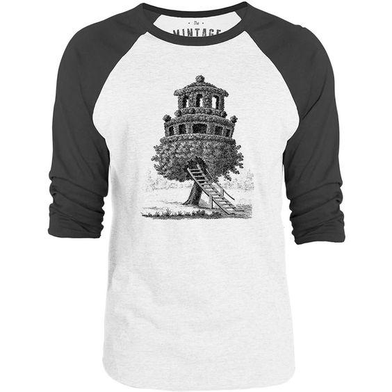 Mintage Amazing Tree House 3/4-Sleeve Raglan Baseball T-Shirt (White / Concrete)