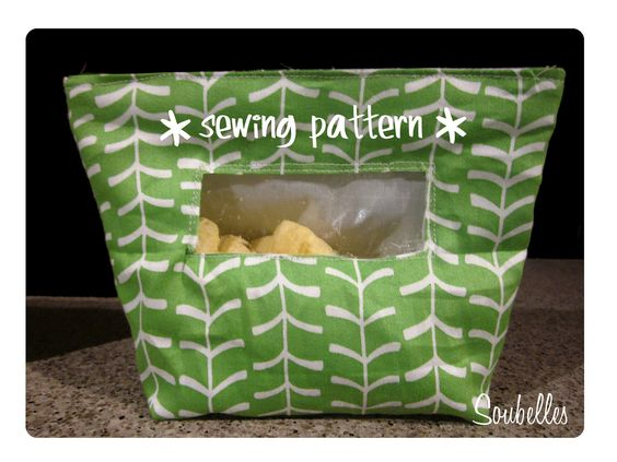 Reusable snack bags and sandwich bag- PDF sewing pattern comes with 3 size bags. $5.00, via Etsy.