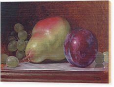 Pear And Plum Wood Print by Timothy Jones