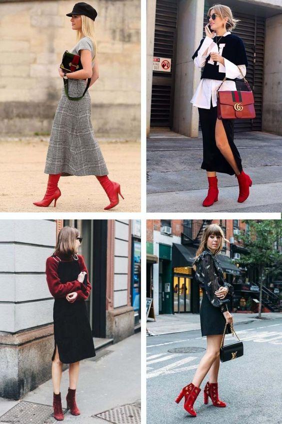 Como Usar Bota Vermelha? Acesse o site para encontrar esta e outras tendências de sapatos Inverno 2018!