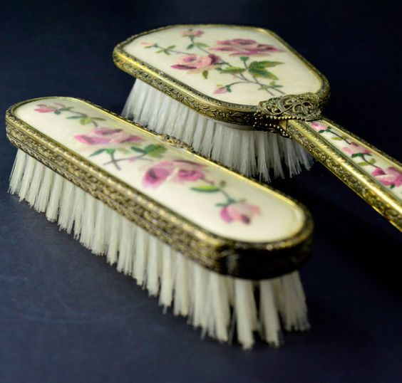 1950s Vanity Set Vintage Dressing Table Vanity Set Brush Set with cream with Floral Design Pink Roses by FillyGumbo