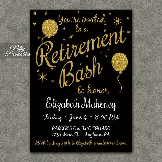 Retirement Party Invitations Printable Black & by NiftyPrintables