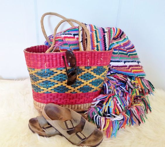 Vintage Woven Straw Tote Bag Multi Colored Large by thejadedorris