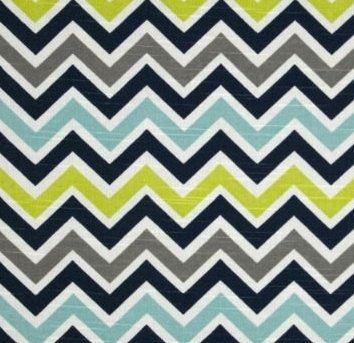 Crib Skirt Box Pleat Dust Ruffle in Chevron lime green, gray, aqua, navy by bbylab on Etsy