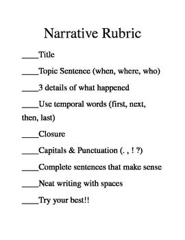 first grade creative writing rubric