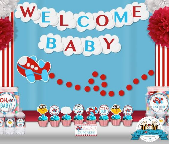 Airplane Aviator Baby Shower Party Package - Personalized and Editable Items - Super Package - PK-27