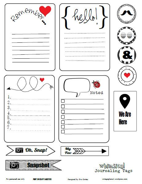 Whimsical Journaling cards free printable download black, red and white. Free for personal use in pocket scrapbooking, day planners and other papercrafts.