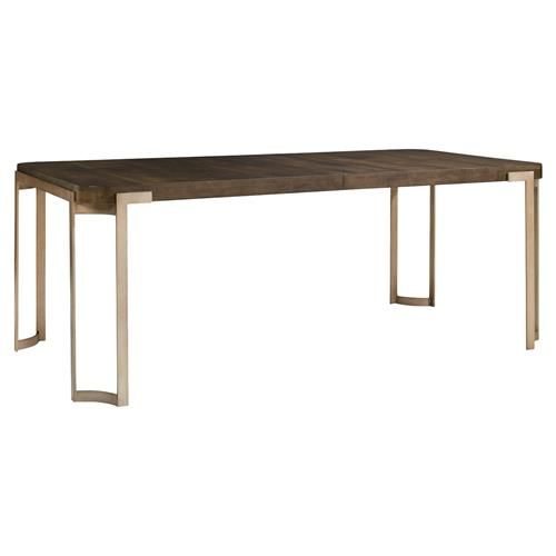 Patrick Mid Century Antique Brass Oak Wood Dining Table