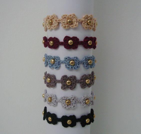 Crochet Bracelet and Studs.