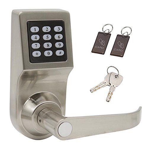 Digital Door Lock Smart Access Keyless Keypad Lever Lock Unlock With Card Code And Keyhandle Direction Re Keyless Door Lock Digital Door Lock Keypad Door Locks