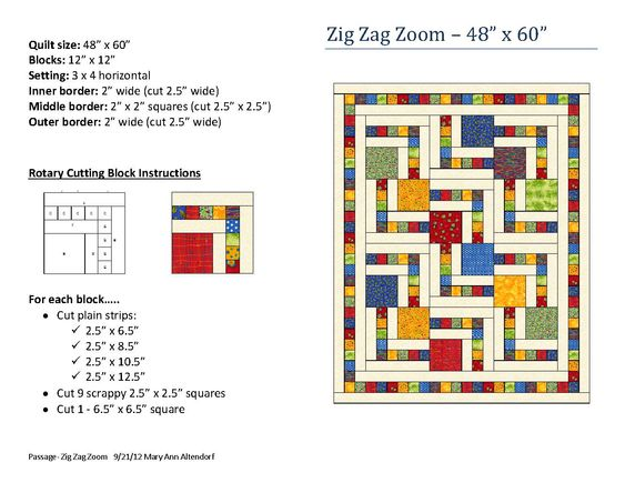 Zig Zag Zoom quilt pattern by Mary Ann Altendorf quilting Pinterest Patterns, Squares and ...