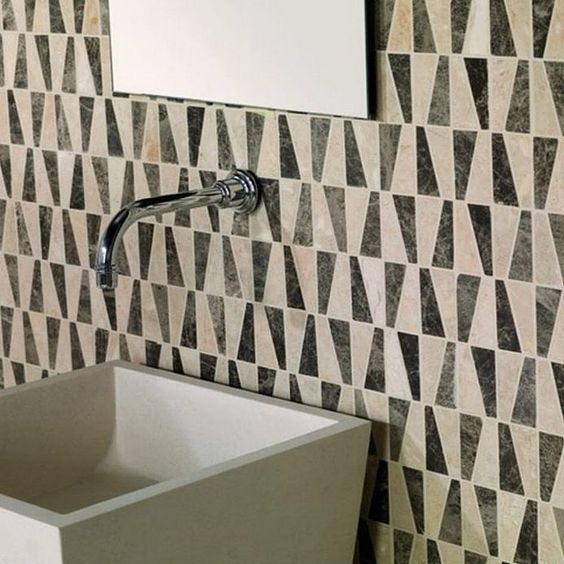 How cool is this #mosaic #tile #featurewall from @byronbaytiles? We'll tell you. It's very very very (very very) cool! Not your typical #shape to the #tiles and really versatile #colors--it's #modern with a transitional sensibility and we'd surely love to conjure a #bathroomdesign around it! / #tiletuesday #interior #interiors #interiordesign #backsplash #backsplashtiles #splashback #interiordesigner #idcdesigners #bathroom #kitchen #tiled #tiling #tiler #tileaddiction #tiledesign #mosaics…