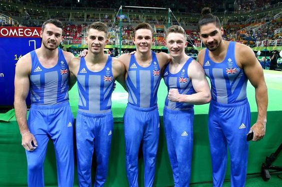 Gymnastics: Team Britain, from left, Kristian Thomas, Max Whitlock, Brinn Bevan, Nile Wilson and Louis Smith