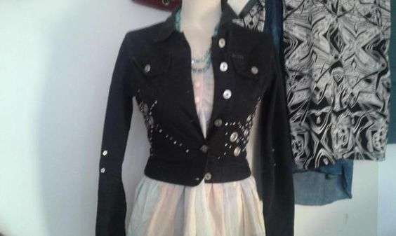 Superstar Watcher Zwart Jeans jasje met studs