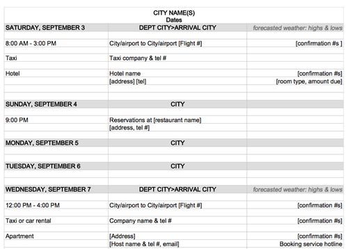 example travel itinerary template