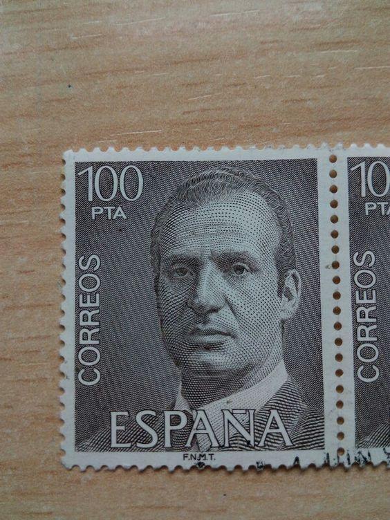 Sello de Correos España. 100 pesetas. Serie básica. SM el Rey.  FNMT