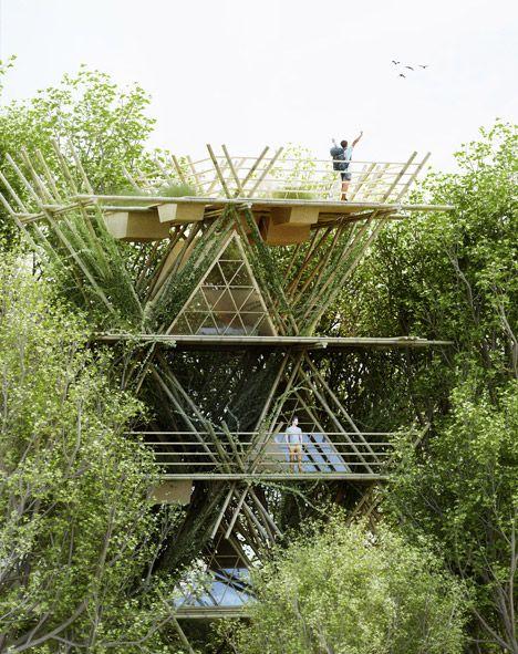 """O projeto em bambu foi desenvolvido para a """"AIM Legend of the Tent"""". A competição convocou arquitetos para projetar um hotel com baixo impacto ambiental."""