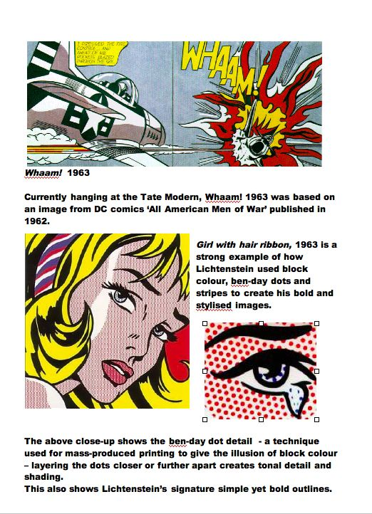 Roy Lichtenstein: Artist Fact Sheet Part 2. Blue Sparrows Art Club.