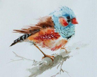 Adler Gemalde Vogel Aquarellzeichnung Vogel Print Kunst