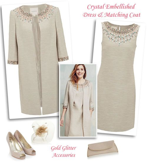 Beaded Nude Shift Dress and Matching Swing Coat | Mantoo