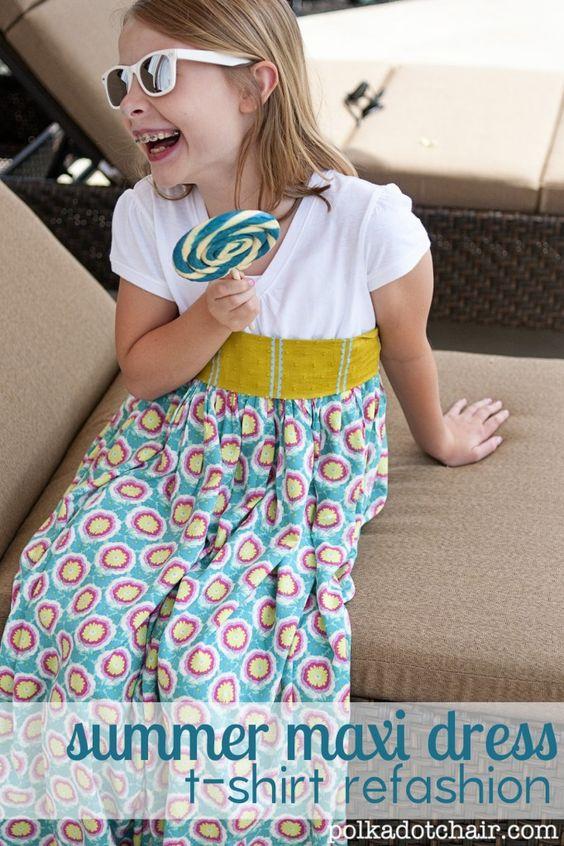 girls summer t-shirt maxidress