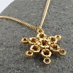 Hex nut snowflake necklace.  Holiday hardware!