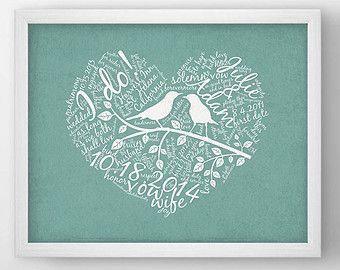 Mariage personnalisée Word Art, amour oiseau mariage art print, cadeau de mariage personnalisé pour jeunes mariés, oeuvre de typographie de coeur - LB1114P