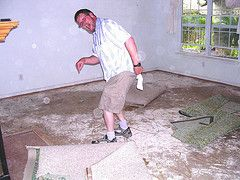 Rip up the carpet and polish the concrete