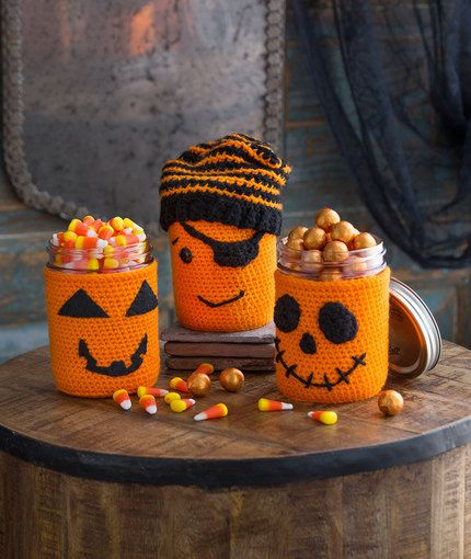 Halloween Jar Cozies Free Crochet Pattern in Red Heart Yarns: